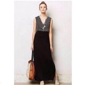 ANTHROPOLOGIE LILKA Black Striped VNeck Maxi Dress